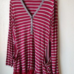 Logo Lori Goldstein Striped Pocket Lace Tunic SZ L